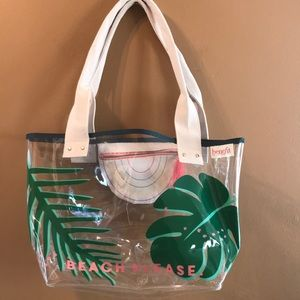 Benefits clear beach tote.